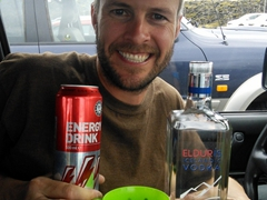 Robby discovered the best bar at the Blue Lagoon in our Jimny. Duty free vodka combined with Bónus supermarket generic energy drink and voilà! Instant hit