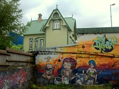 Colorful street art is a common sight in funky Reykjavik