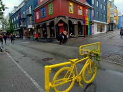 View of Trúnó, a colorful gay bar/cafe in downtown Reykjavik