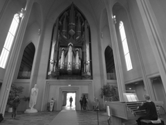 Interior of Reykjavik's most famous church, Hallgrímskirkja