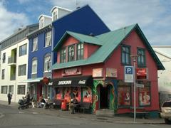 Fast food restaurant on a street corner in Reykjavik
