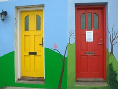 Hmmm, which door to enter...yellow or red?
