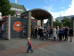 A long line forms outside a hot dog stand in Reykjavik. We learned that Icelanders love their icecream and their hot dogs