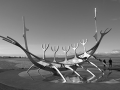 The Sun Voyager, a popular stainless steel sculpture in the shape of a Viking ship; Reykjavik