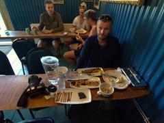Robby enjoying our meal at Sægreifinn