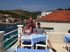 Becky, Bob and Luke basking in Korcula's heat