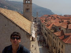 Luke posing above Dubrovnik's most popular walkway