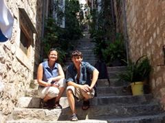 Becky & Luke stop for a rest on one of Dubrovnik's steep alleyways
