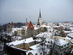 A winter view of old Tallinn, which can be bitterly cold so dress warm and ensure your shoes have good traction!