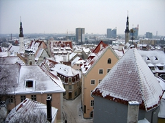 Snow capped view of Tallinn (from Toompea Hill)