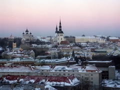 Early morning view of old Tallinn as seen from Reval Hotel