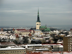 Snow capped roofs, Tallinn city center