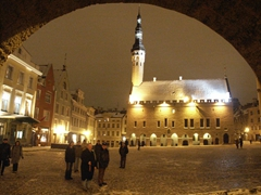 Archway view into old town square, Tallinn