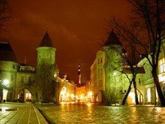 The Viru Gates are the main entrance to old Tallinn. They are extraordinarily picturesque, especially late at night after a rain storm