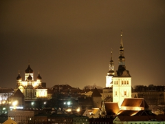 The Tallinn skyline at night, which is beautifully lit up
