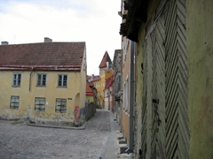 View down a cobblestoned street in Old Tallinn
