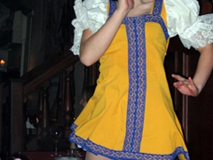 Russian dancer in cellar restaurant; Tallinn
