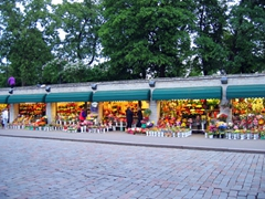 Flower stands on the outskirts of old Tallinn