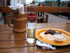 Garlic encrusted bread goes down a treat with beer; old Tallinn