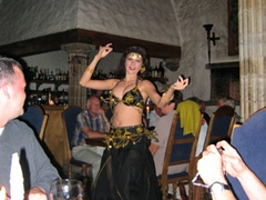 A belly dancer performs during dinner; Tallinn Peppersack Restaurant