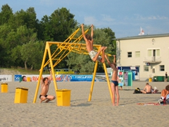 Estonian boys enjoying themselves by the seashore; Pärnu