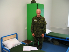 Estonian recruit during room inspection, basic training