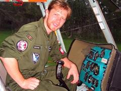 Polish pilot Jurek in his helicopter