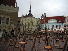 Empty souvenir stands, Tallinn town square at dusk