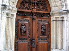 Intricately carved wooden door, Tallinn church