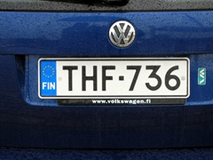 Detail of a Finnish license plate