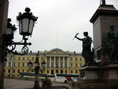 View of Senate Square as seen from the base of Alexander II statue