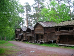 Traditional Finnish wooden dwellings, open air museum display