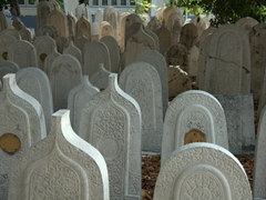 Coral tombstones (round for women, pointed for men) at Malé's Hukuru Miskiiy (Old Friday) Mosque cemetery