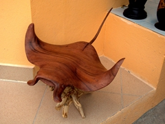 A wooden manta for sale; Dhigurah Island