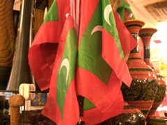 Maldives souvenir flags for sale; Malé