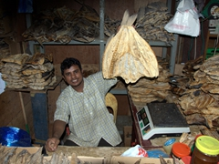 A vendor holding up a dried fish for sale; Malé