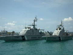 The Maldivian Coast Guard and Fire & Rescue boats in harbor; Malé