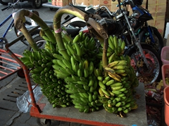 A pushcart is used to transport heavy bundles of bananas; Malé