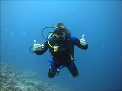Robby flashing a thumbs up; Holiday Beru Long Reef, South Ari Atoll
