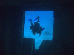 Robby about to enter the bowels of the Kudhima Wreck; South Ari Atoll