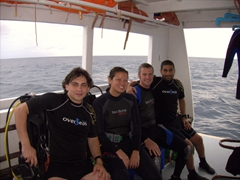 Alex, Becky, Robby and Gil preparing for our 17th and last dive with the MV Stingray dhoni at Kan Thila; North Ari Atoll
