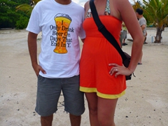 Gil and Becky pose for a picture on Dhigurah Island