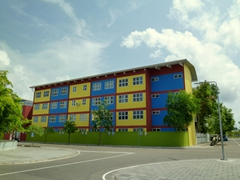 A colorful apartment block on the man made island of Hulhumale