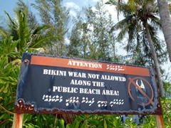 The islands closest to Male, the capital of the Maldives, do not allow the wearing of bikinis at any time, one of the Islamic Republic's more stringent laws for tourists