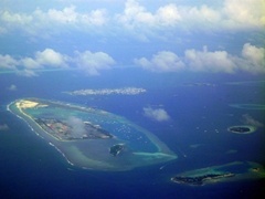 Aerial view of Hulhule and Hulhumale Islands