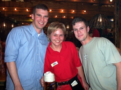John Boy, Sylvia, and Robby. John terrorized poor Sylvia, who was unfortunate to be our waitress as we devoured liters of beer