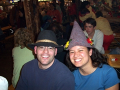Not sure where these goofy hats came from but all of a sudden, Joe & Becky were sporting them inside a fest tent