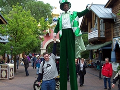 "Robby poses next to a ""giant""; Europa Park"