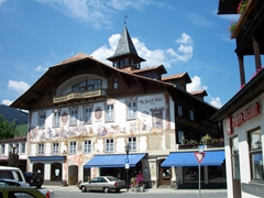 Oberammergau is also famous for its spectacular luftlmalerei (frescoes) that showcase traditional Bavarian themes