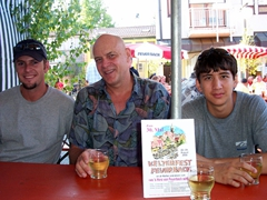 The boys sport silly smiles after a few glasses of wine at Feuerbach's AugustKelterfest (wine festival)